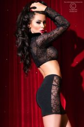 Chilirose Set Top Skirt and String Black CR-4046