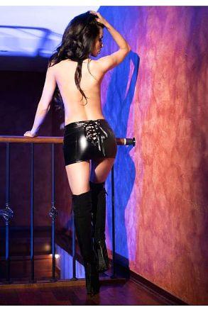 Chilirose Black Leatherlook skirt CR-4089