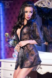Chilirose Outstanding Lace Robe Black CR-4138