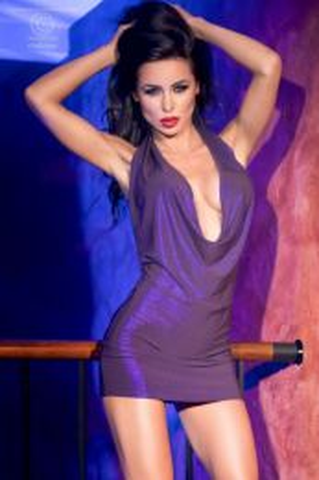 Chilirose Dress Purple Metalic CR-4158-Purple