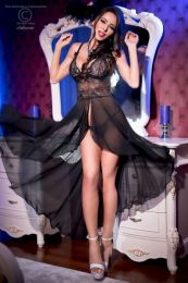 Chilirose Longgown with String CR-4162-Black
