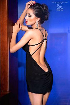 Chilirose Black Minidress CR-4239