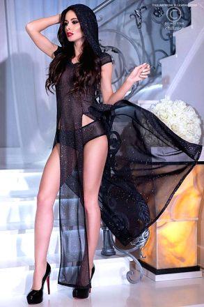 Chilirose Black Shiny Hood Dress CR-4259