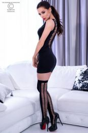 Chilirose Black Seamless Minidress with Stockings CR-4305