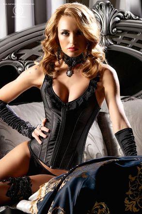 Chilirose Satin Corset & String Black CR 4322-Black