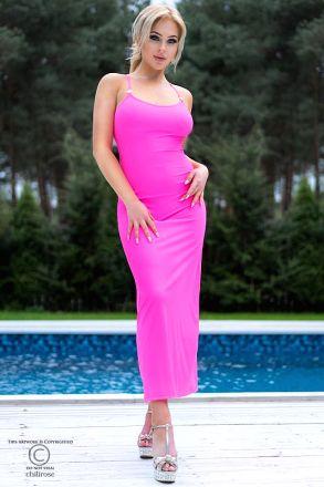 Chilirose Pink Long Dress CR-4379
