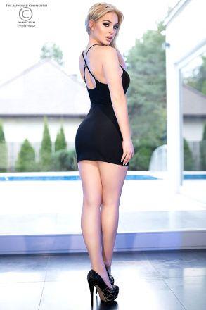 Chilirose Black Mini Dress CR-4380