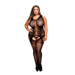 Baci - Crotchless Jacquard Bodystocking Queen Size E29062