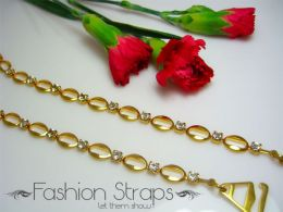 Fashionstraps - Ovoid Metal Alter Clear Diamantes In Gold Coating 05CG