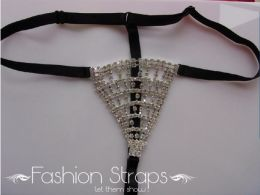 Fashionstraps - Rhinestone G-String With Black Fabric String FS1002