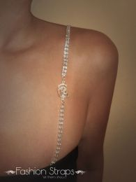 Fashionstraps - Double Row Clear Diamantes With A Clear Rose In Silver Coating 162C