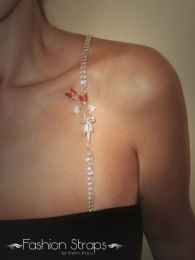 Fashionstraps - Double Row Clear Diamantes Rose In Silver Coating FS18R