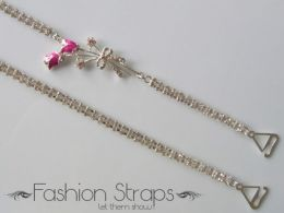Fashionstraps - Double Row Clear Diamantes Rose In Silver Coating 18R