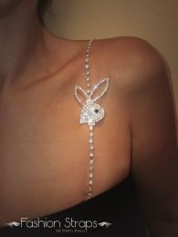 Fashionstraps - Single Row Clear Diamantes With Bunny In Silver Coating FS211C