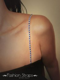 Fashionstraps - Alter Bars With Blue Diamantes In Silver Coating 60BL