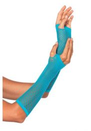 Leg Avenue Triangle Net Fingerless Gloves Neon Blue LG2024