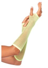 Leg Avenue Triangle Net Fingerless Gloves Neon Green LG2024