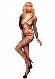 Leg Avenue Sleeved Net Bodystocking Black LG89074