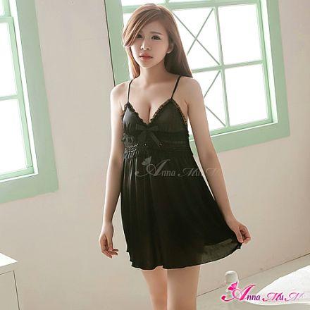 AnnaMu Soft Black Satin Sleep Shirt NA12020012