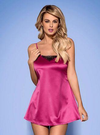 Obsessive Satinia babydoll & thong pink OB0536