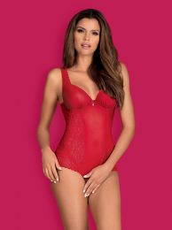 Obsessive Rougebelle crotchless teddy red OB3406