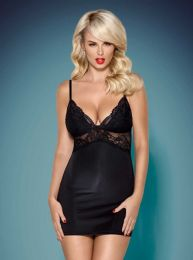 Obsessive 810-CHE chemise and thong black OB3872