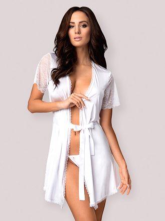 Obsessive Miamor robe & thong white OB5349