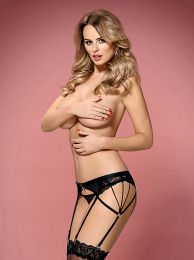 Obsessive 854-GAR-1 garter belt and thong black OB8112