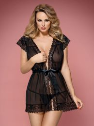 Obsessive 854-PEI-1 peignoir and thong black OB8211