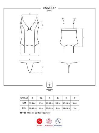 Obsessive 856-COR-1 corset & thong black OB 8396