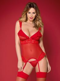 Obsessive 863-COR-3 corset & thong red OB9201