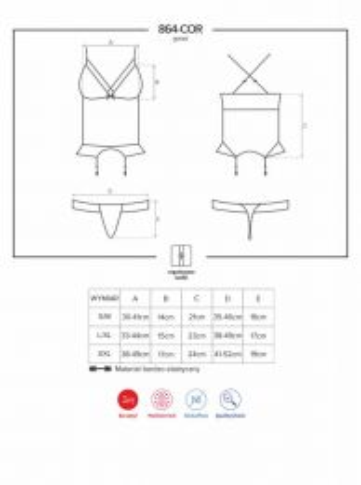 Obsessive 864-COR-1 corset and thong black OB 9249