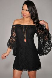 Long Sleeve Lace Black Dress SC9413