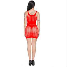 Sexy Net Mesh Mini Dress Red MY YF181255-Red