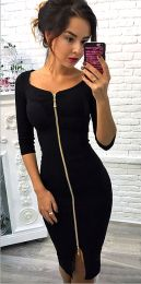 Midi Zipper Dress Black