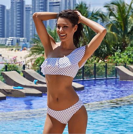 Polka Dots One Shoulder Bikini White MY-YN1903010-103533-White