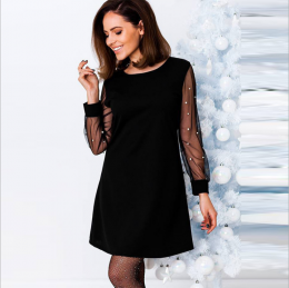 Black Dress with Pearls on Sleeves MY-YN191203-B