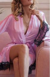 Satin Robe Pink MY-YN197181-Pink