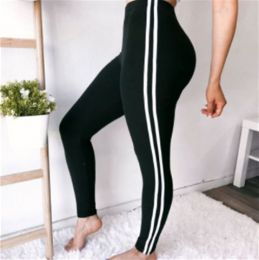Sporty Stripe Black Leggings