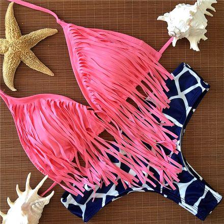 Tassels Brazilian Bikini Pink 10-3324-R