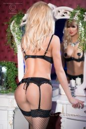 Chilirose Black lace set with open bra CR 4191-Black