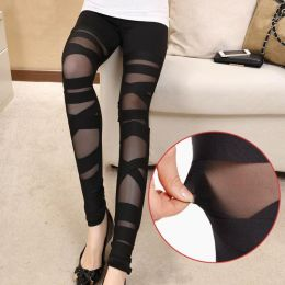 Black Mesh Leggings with Cross Detail MY-K015