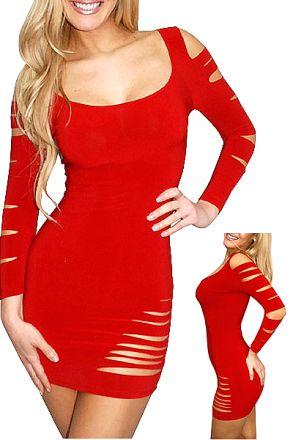 Sexy Stretchy Clubwear Red 109204
