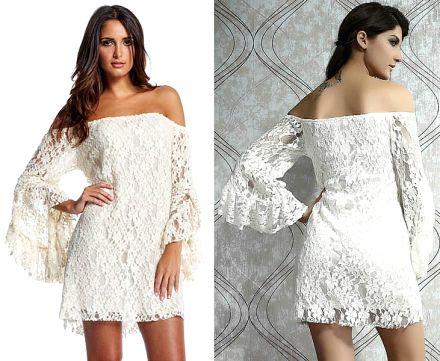 Long Sleeve Lace White Dress SC 9413